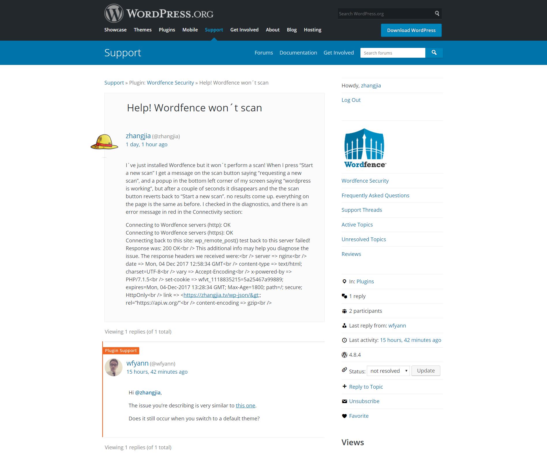 Wordfence Security点击扫描无效的原因和解决方法