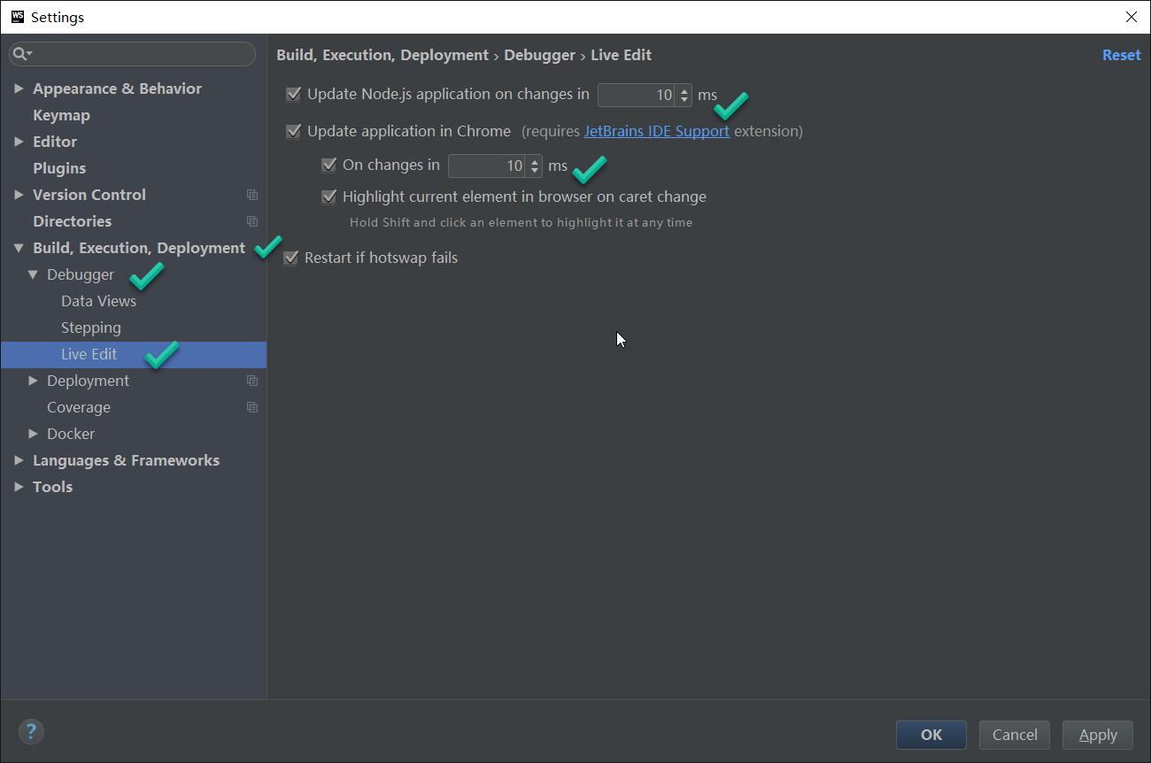 WebStorm如何即时显示更改内容和热更新